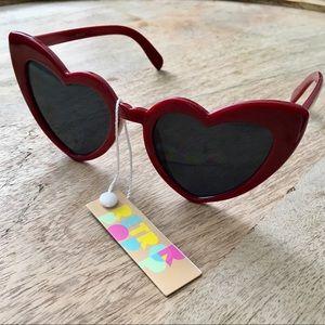 NWT Cat Eye Heart Shaped Sunglasses RED